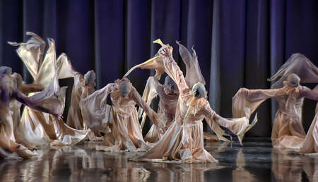 Theatrical performance of dancing collective, Festival, St. Petersburg, Russia. Editorial