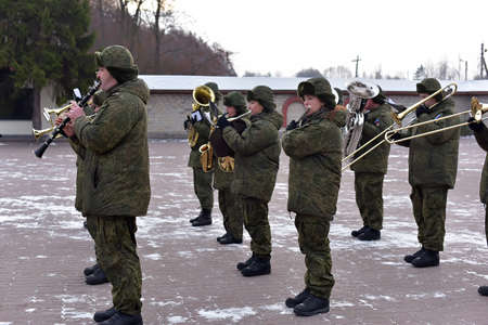 Militärkapelle in der Pskov-Luftlandedivision, russisch. Standard-Bild - 60954055