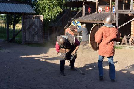 svcandinavians: Vikings battle, historical reconstruction in Svargas, Russia. Editorial