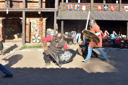 Vikings battle, historical reconstruction in Svargas, Russia. Editorial