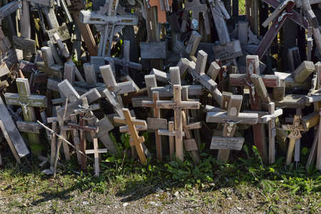 oppression: The hill of the Crosses (Kryžių kalnas) in Lithuania, one of the most important pilgrimage sights of the region and a national monument comemmorating Soviet oppression. Editorial