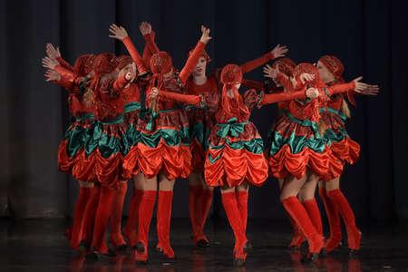 Performance of childrens dance group, St. Petersburg, Russia. Redakční