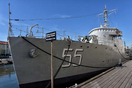 hms: Old Swedish minesweeper HMS Bremon in Naval Museum in Karlskrona, Sweden. Film photography, slide scan. Steerboard view, main museum building in the background. Editorial