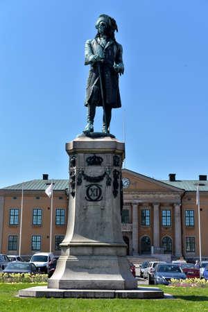 karl: Vertical view of King Karl XI statue in Karlskrona city.