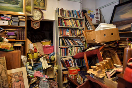 cluttered: A lot of things in the junk shop in Karlskrona, Sweden.