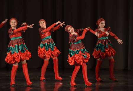 bulgaria girl: Dance in folk costumes Editorial