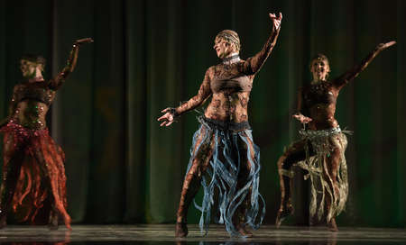 Stage performance of contemporary dance group, St. Petersburg, Russia.