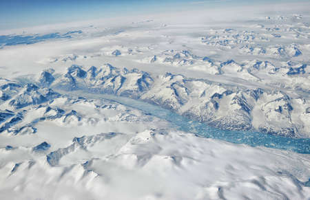 frozen lake: Greenland from the plane window. Stock Photo