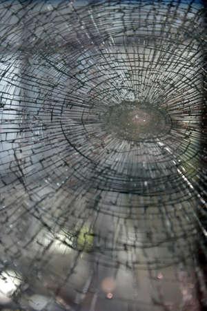 auto glass: Sample of broken auto glass.