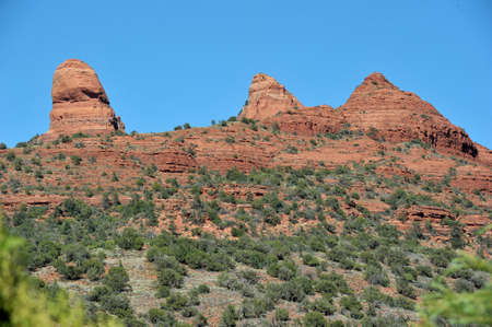 canyon walls: Landscape view of Boynton Canyon area in Sedona Sedona is an Arizona desert town near Flagstaff thats surrounded by red-rock buttes, steep canyon walls and pine forests.