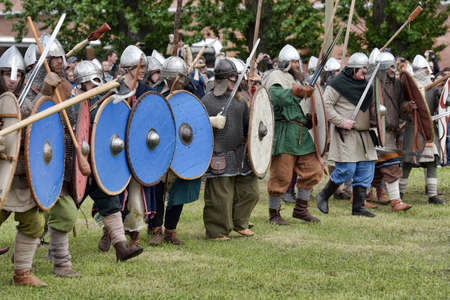 buckler: Men in fierce fight at the annual Viking battle