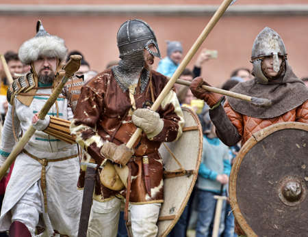 protective suit: Festival of historical reconstruction Legend of the Norwegian Vikings, St. Petersburg, Russia.
