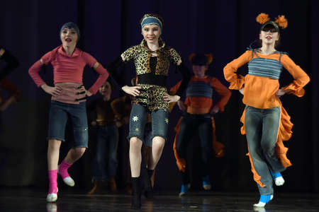 dramatics: Childrens theatrical performance of dance group Russia, St. Petersburg. Editorial