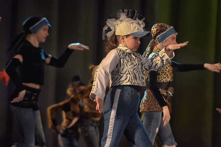 Childrens theatrical performance of dance group Russia, St. Petersburg. Editorial