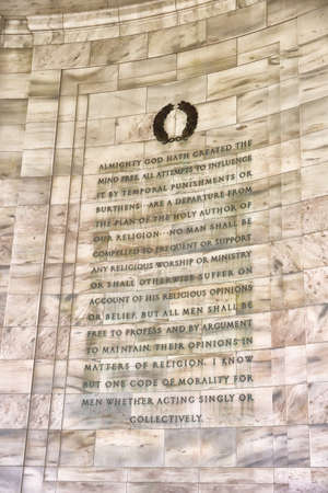 tributos: Detalle de escritura en Jefferson Memorial, Washington, DC