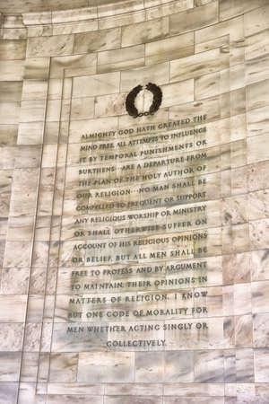 jefferson: Writing Detail at Jefferson Memorial, Washington, DC