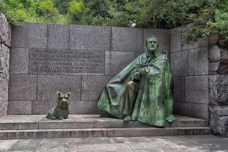 Outdoor view of Franklin Delano Roosevelt Memorial in Washington DC.