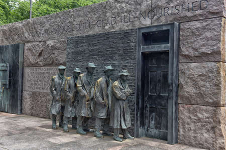 Outdoor view of Hunger sculpture of Franklin Delano Roosevelt Memorial in Washington DC.