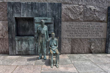The Appalachian Farm Couple is a life-size sculpture that depicts the despair, hunger, poverty and indignity suffered during the Great Depression by many Americans and is part of the Franklin D Roosevelt Memorial in the District of Columbia.