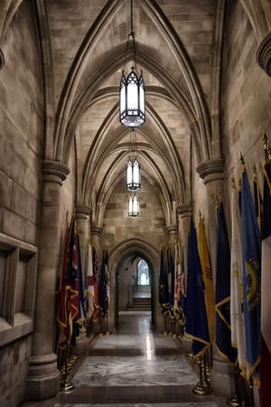 A view to the one of the sides of the Washington National Cathedrals main level (the Nave).