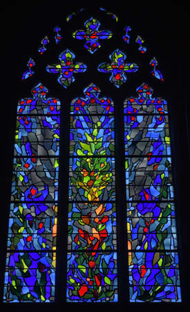 gothic revival: Stained glass window in nave of cathedral; Washington, District of Columbia, United States of America