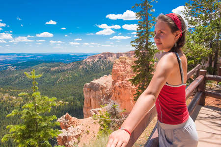 Girl tourist in Bryce Canyon