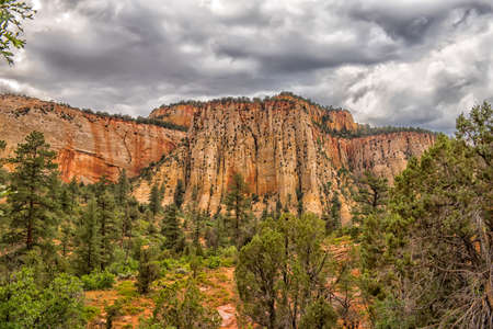 Zion National Park in the rain in the summer Stock Photo