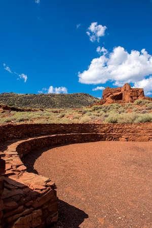 flagstaff: Wukoki ruins in Wupatki National Monument near San Francisco Peaks, Flagstaff, Arizona. Stock Photo