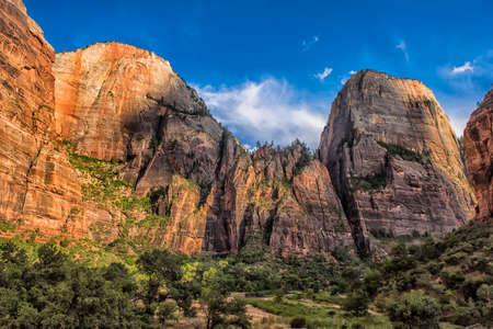 rock strata: Zion National Park at Sunset, Utah