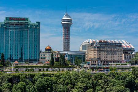 niagara falls city: View of hotels and casinos from Niagara Boulevard in Niagara Falls City, Ontario, Canada.