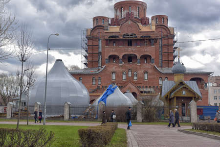 Orthodox church under construction, outskirts of St.Petersburg, Russia. Editorial
