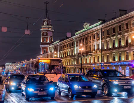 Nevsky Prospect in winter night, St. Petersburg, Russia.