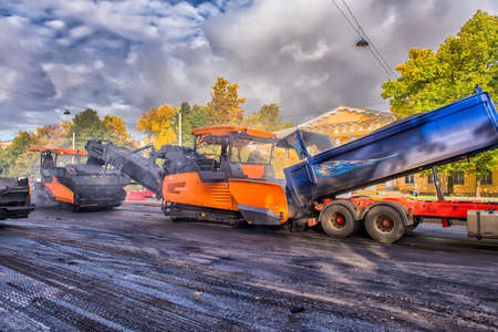 Russia, St.Petersburg Petersburg 24,09,2016 Replacement of the asphalt pavement in the road, Editorial