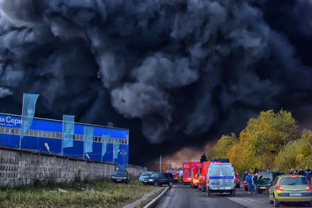 Fire at the industrial zone, Russia.