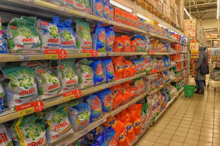 Washing powder shelf in hypermarket, Saint-Petersburg, Russia.