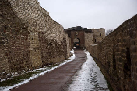 loophole: Izborsk fortress. City Izborsk, Pskov region, Russia, Stock Photo