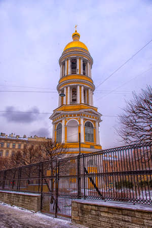 princes street: Bell tower of Vladimir Cathedral, Peterburg, Russia Editorial
