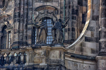 Details of the architecture of the restored cathedral, Dresden, Germany