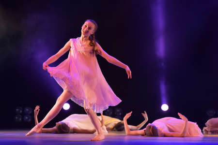 choreographic: Girls in pink air dresses dancing on stage, Theater of Choreographic Miniatures Style, Performance in St. Petersburg, Russia