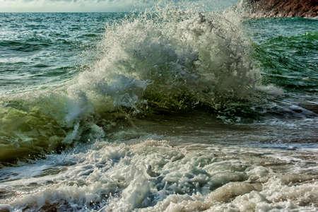 crashing ocean waves during storm Stockfoto
