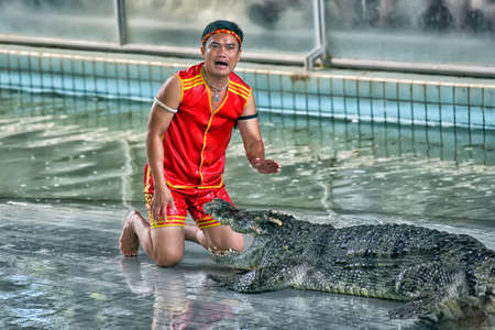 PATTAYA, THAILAND - June 26: Crocodile show and man exciting and dangerous at crocodile zoo farm on June 26, 2017 in Pattaya, Thailand Editorial