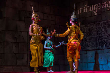 headress: Siem Reap,Cambodia - 28.06.2017 :A group of Aspara Dancers were performing at a public perform in Siem Reap,Cambodia. Editorial