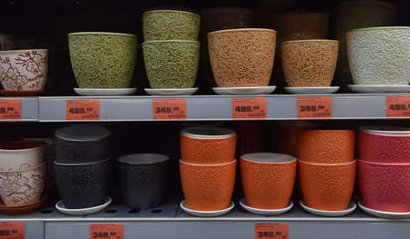 Russia, St.Petersburg, 22,07,2017 Flower pots in a large supermarket