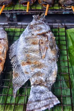 Salt and Grilled Fish in the market on Thailand Stock Photo