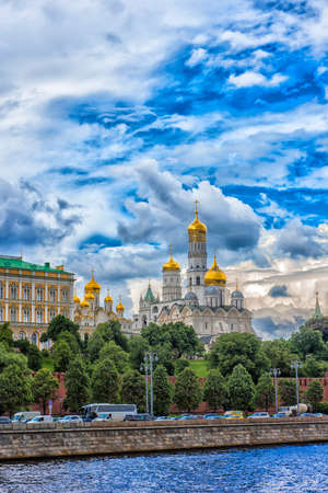Russia, Moscow 22.06.2017  Churches and cathedrals in Moscow Kremlin. Kremlin Embankment in Moscow, Russia.