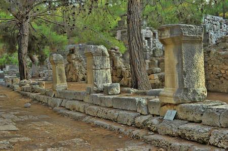 Old town Phaselis in Antalya, Turkey - archaeology background Stock Photo