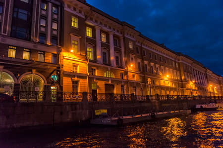 Russia, St. Petersburg, 16,08,2017 Embankment of the river Moika in the evening