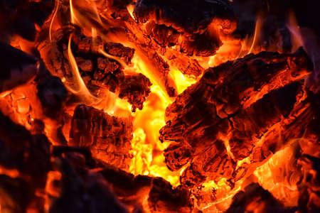 smolder: burning firewood close
