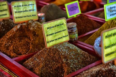 Turkey, Kemer, 07,08,2017 Spices on the street market Editorial