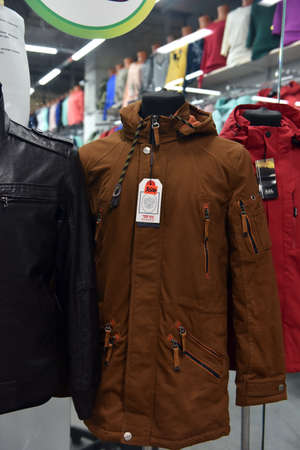winter fashion: Russia, St. Petersburg 10,09,2017 Mens autumn jacket in the store